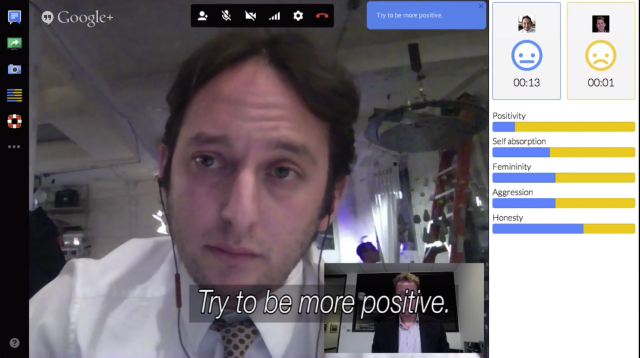 Man talking in video chat with analytics surrounding the image.
